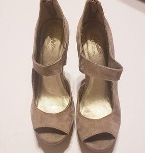Seychelles tan suede open toe tall wedge. Size 7.5